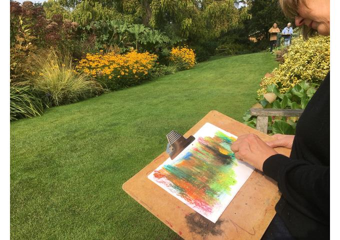 The Summer Garden in Oil Pastels & Acrylics