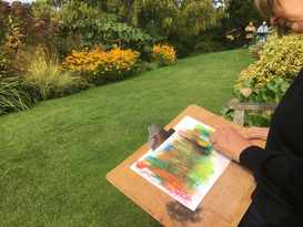 The Summer Garden in Oil Pastels & Acrylics